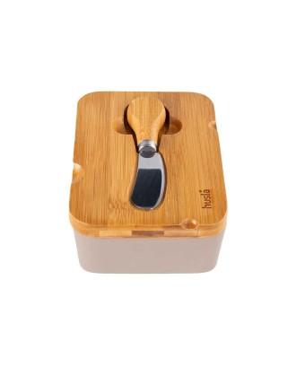 Keramikos sviesto indas su dangčiu iš akacijos medienos